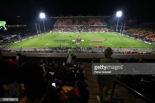General view during the International Test match between the New Zealand All Blacks and Tonga at Mt Smart Stadium on July 03, 2021 in Auckland, New...