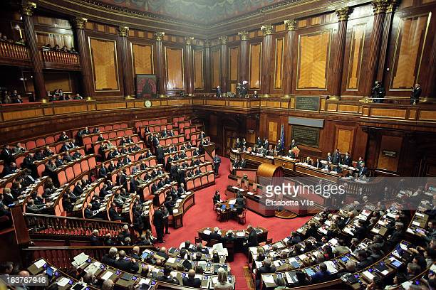 A general view during the Italian Parliament inaugural session at Senate on March 15 2013 in Rome Italy The new Italian parliament which opens the...