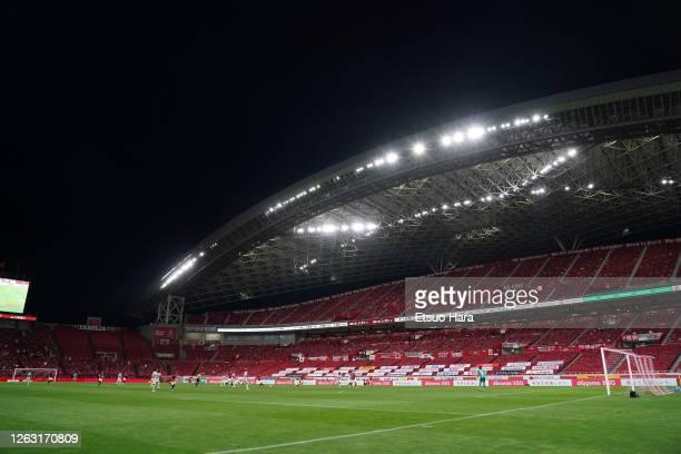 General view during the J.League Meiji Yasuda J1 match between Urawa Red Diamonds and Shimizu S-Pulse at the Saitama Stadium on August 01, 2020 in...