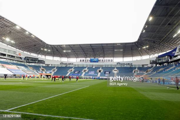 General view during the Jupiler Pro League Europa League Play-Offs match between KAA Ghent and KV Mechelen at Ghelamco Arena on May 2, 2021 in Gent,...