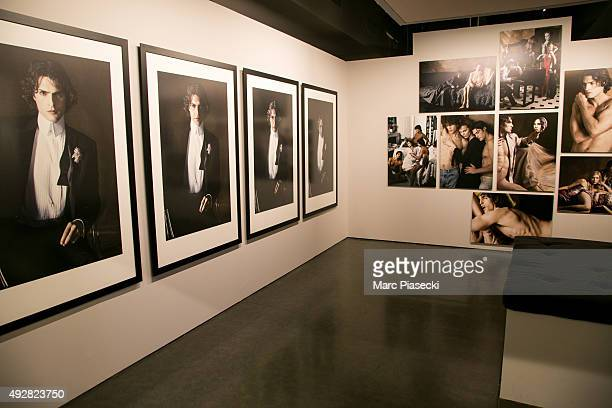 A general view during the 'Karl Lagerfeld a visual journey' photographs exhibition opening at La Pinacotheque on October 15 2015 in Paris France