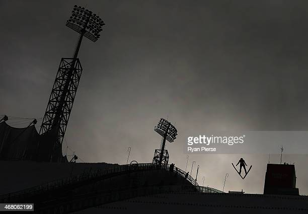General view during the Ladies' Normal Hill Individual Ski Jumping training on day 2 of the Sochi 2014 Winter Olympics at RusSki Gorki Jumping Center...
