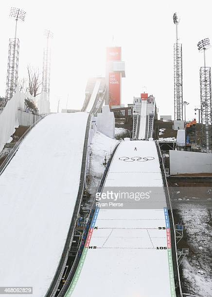 A general view during the Ladies' Normal Hill Individual Ski Jumping training on day 2 of the Sochi 2014 Winter Olympics at RusSki Gorki Jumping...