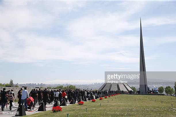 General view during the laying of the flowers at the Genocide Memorial in Yerevan, Armenia for the 101st anniversary of the Armenian Genocide on...