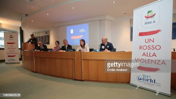A general view during the Lega Serie A 'Un Rosso Alla Violenza' press conference on November 20 2018 in Milan Italy