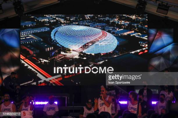 General view during the Los Angeles Clippers Ground breaking Ceremony on September 17 at the Intuit Dome site in Inglewood, CA.