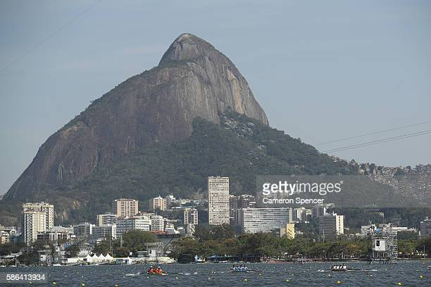 A general view during the LWT Men's Four Heat 1 on Day 1 of the Rio 2016 Olympic Games at the Lagoa Stadium on August 6 2016 in Rio de Janeiro Brazil