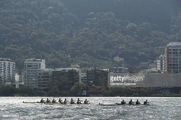 A general view during the LWT Men's Four Heat 3 on Day 1 of the Rio 2016 Olympic Games at the Lagoa Stadium on August 6 2016 in Rio de Janeiro Brazil