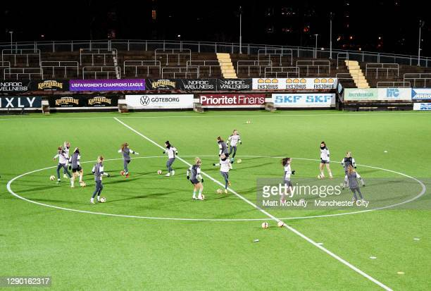 General view during the Manchester City training session at Valhalla IP Stadium on December 08, 2020 in Gothenburg, Sweden.