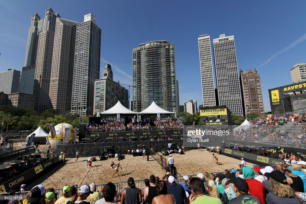 A general view during the match as the team of Nicole Branagh and Brandie Wilkerson play against Emily Day and Brittany Hochevar in the quarterfinal round at the AVP Championships in Chicago - Day 4 on September 3, 2017 in Chicago, Illinois.