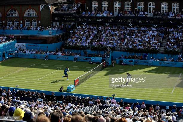 General view during the match between Andy Murray of Great Britain and Nick Kyrgios of Australia on Day Two of the Fever-Tree Championships at Queens...