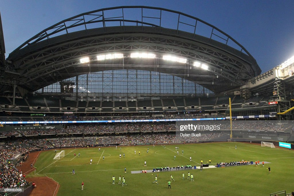 A general view during the match between Club Leon and CF Pachuca at Miller Park on July 11, 2018 in Milwaukee, Wisconsin.