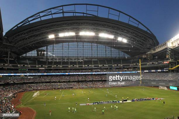 A general view during the match between Club Leon and CF Pachuca at Miller Park on July 11 2018 in Milwaukee Wisconsin