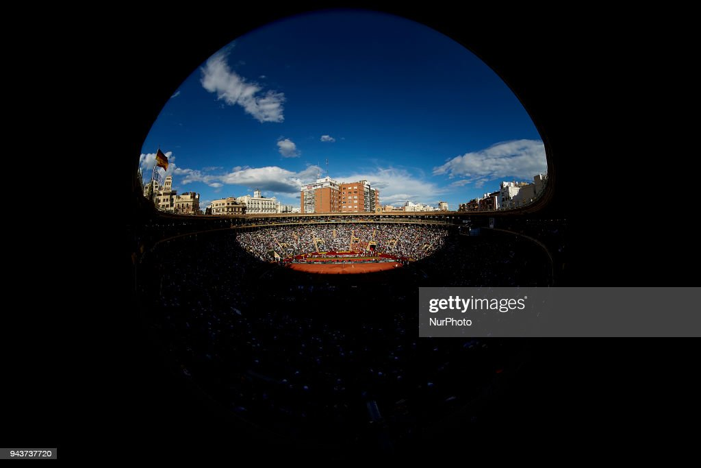 General view during the match between David Ferrer of Spain and Philipp Kohlschreiber of Germany during day three of the Davis Cup World Group Quarter Finals match between Spain and Germany at Plaza de Toros de Valencia on April 8, 2018 in Valencia, Spain