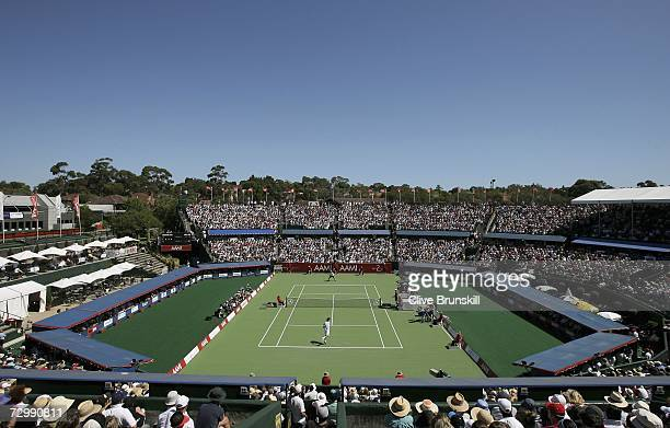 General view during the match between Marat Safin of Russia and Andy Murray of Great Britain for third place during the playoff for third place in...