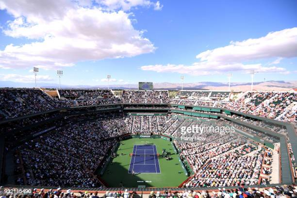 General view during the match between Roger Federer of Switzerland and Jeremy Chardy of France during the BNP Paribas Open at the Indian Wells Tennis...