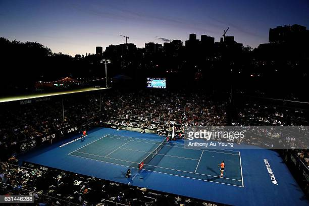 General view during the match between Ryan Harrison of USA and Jack Sock of USA on day ten of the ASB Classic on January 11 2017 in Auckland New...