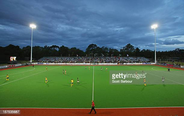 General view during the match between the Australia and Pakistan during day three of the Champions Trophy at the State Netball Hockey Centre on...