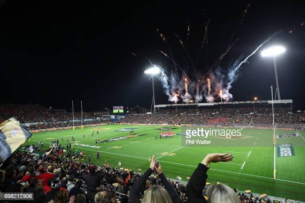 A general view during the match between the Chiefs and the British Irish Lions at Waikato Stadium on June 20 2017 in Hamilton New Zealand