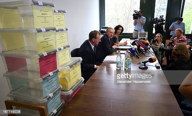 General view during the media conference following the lottery draw for the 50 media spots inside the courtroom for the upcoming NSU murder trial on...