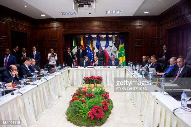 General view during the meeting between the Venezuelan government representatives and members of the Venezuelan opposition at the Dominican Ministry...