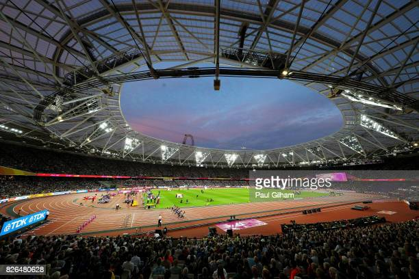 A general view during the Men's 100 metres heats during day one of the 16th IAAF World Athletics Championships London 2017 at The London Stadium on...