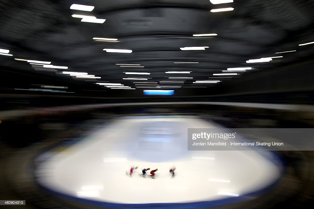 A general view during the Men's 1000m semi-finals on day 1 of the ISU World Cup Short Track Speed Skating on February 7, 2015 in Dresden, Germany.