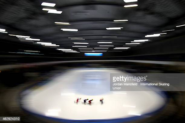 A general view during the Men's 1000m semifinals on day 1 of the ISU World Cup Short Track Speed Skating on February 7 2015 in Dresden Germany