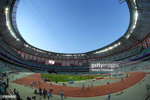 A general view during the Men's 4x400 metres relay during day ten of the Baku 2015 European Games at the Olympic Stadium on June 22 2015 in Baku...