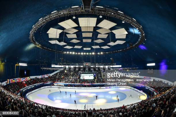 General view during the men's 500 meter quarterfinals in the World Short Track Speed Skating Championships at Maurice Richard Arena on March 17, 2018...