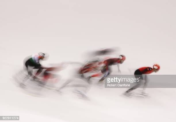 A general view during the Men's 5000m Relay Short Track Speed Skating Final on day thirteen of the PyeongChang 2018 Winter Olympic Games at Gangneung...