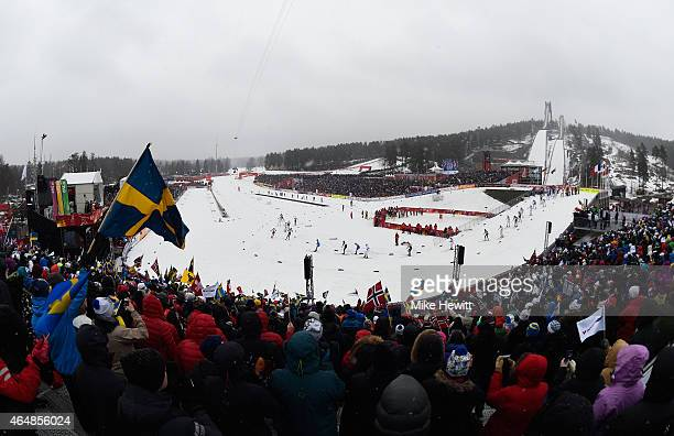 A general view during the Men's 50km Mass Start CrossCountry during the FIS Nordic World Ski Championships at the Lugnet venue on March 1 2015 in...