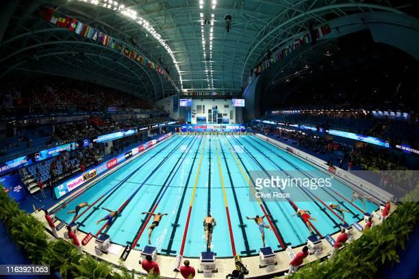 A general view during the Men's 50m Breaststroke Final on day four of the Gwangju 2019 FINA World Championships at Nambu International Aquatics...