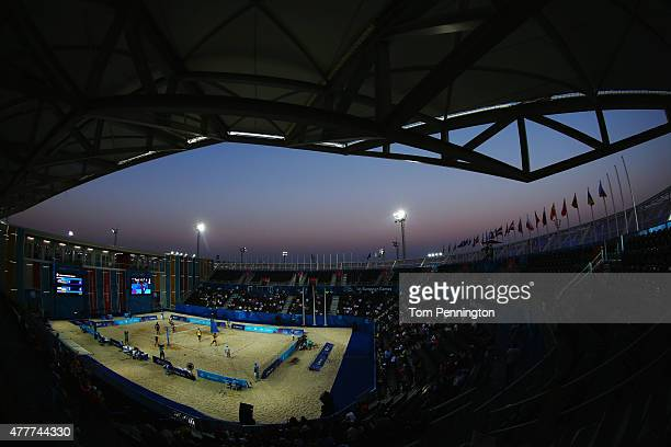 A general view during the Men's Beach Volleyball elimination round match between Azerbaijan and Ukraine on day seven of the Baku 2015 European Games...