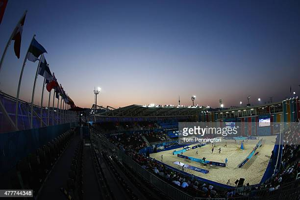 General view during the Men's Beach Volleyball elimination round match between Azerbaijan and Ukraine on day seven of the Baku 2015 European Games at...