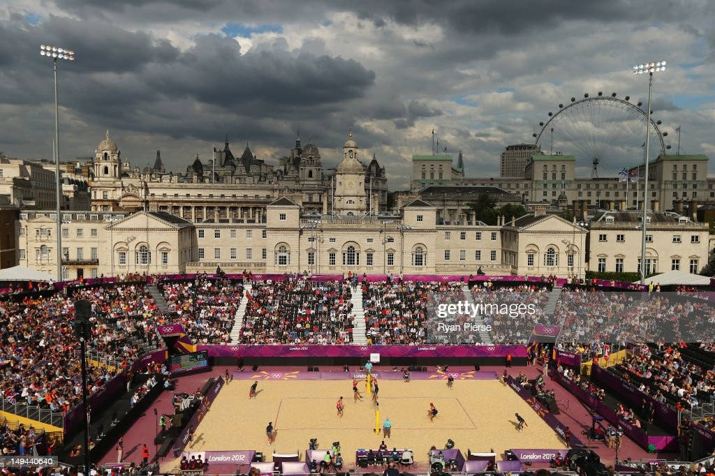 A general view during the Men's Beach Volleyball Preliminary Round on Day 1 of the London 2012 Olympic Games at Horse Guards Parade on July 28, 2012 in London, England.