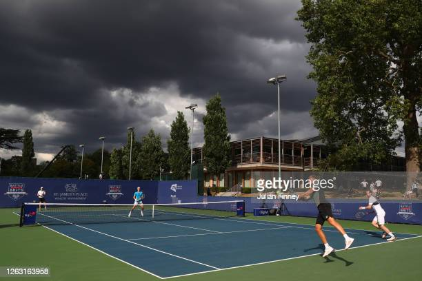 General view during the men's doubles match between Andy Murray and Lloyd Glasspool of Union Jacks and Joe Salisbury and Kyle Edmund of British...