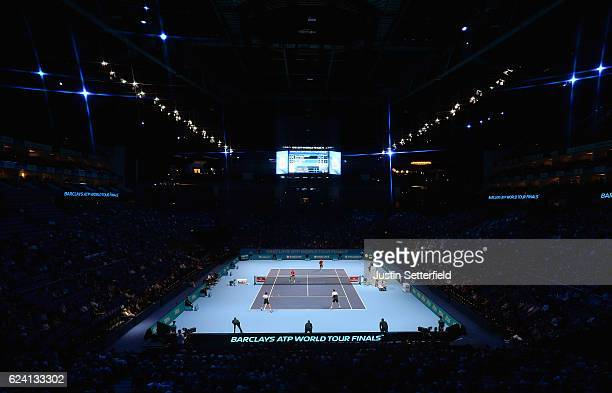 A general view during the men's doubles match between PierreHugues Herbert and Nicolas Mahut of France and Henri Kontinen of Finland and John Peers...