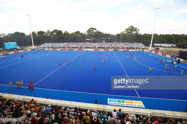 General view during the Men's FIH Field Hockey Pro League match between Australia and Belgium at State Netball Hockey Centre on February 03, 2019 in...
