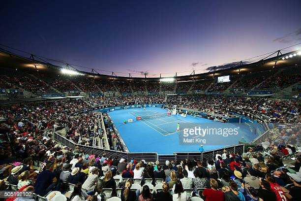 A general view during the men's final match between Grigor Dimitrov of Bulgaria and Viktor Troiki of Serbia during day seven of the 2016 Sydney...