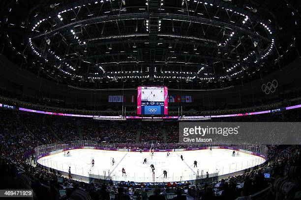 A general view during the Men's Ice Hockey Preliminary Round Group A game between Russia and the United States on day eight of the Sochi 2014 Winter...
