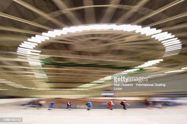 A general view during the Men's Mass Start semifinal on day one of the ISU World Cup Speed Skating at Meiji HokkaidoTokachi Oval on November 16 2018...