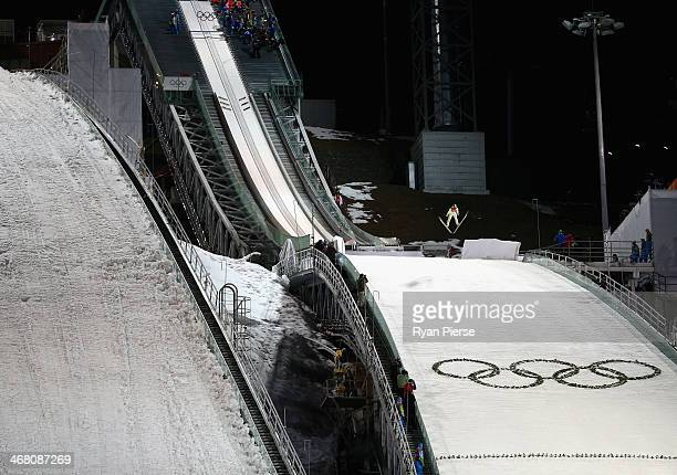 A general view during the Men's Normal Hill Individual Ski Jumping Final on day 2 of the Sochi 2014 Winter Olympics at RusSki Gorki Jumping Center on...