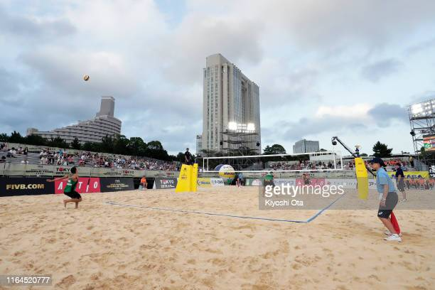 General view during the Men's semifinal match between Nils Ehlers and Lars Fluggen of Germany and Alison Cerutti and Alvaro Filho of Brazil on day...