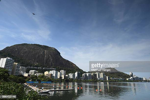 A general view during the Men's Single Sculls Heat 6 on Day 1 of the Rio 2016 Olympic Games at the Lagoa Stadium on August 6 2016 in Rio de Janeiro...