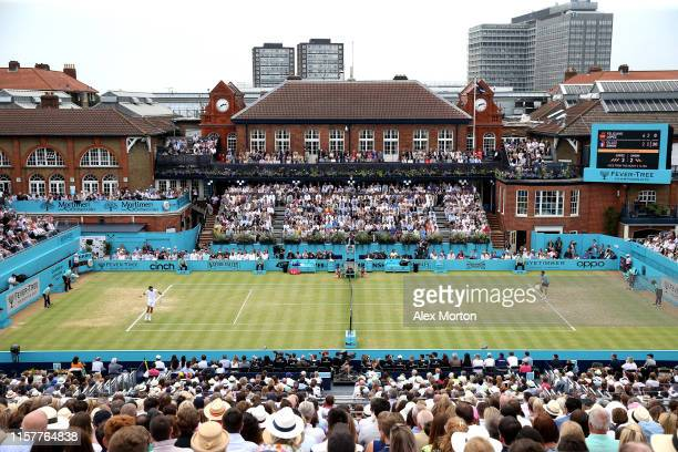 General view during the mens singles final between Feliciano Lopez of Spain and Gilles Simon of France during day seven of the Fever-Tree...