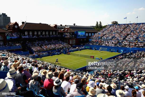 A general view during the mens singles first round match between Feliciano Lopez of Spain and Stan Wawrinka of Switzerland on day two of the 2017...