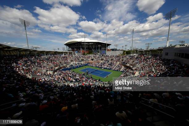 General view during the Men's Singles fourth round match between Grigor Dimitrov of Bulgaria and Alex de Minaur of Australia on day seven of the 2019...