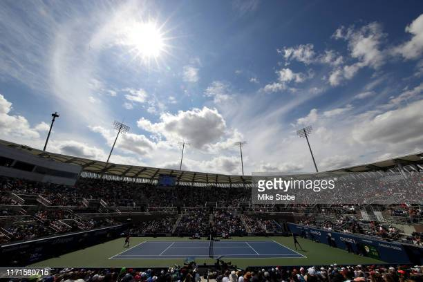 A general view during the Men's Singles fourth round match between Grigor Dimitrov of Bulgaria and Alex de Minaur of Australia on day seven of the...