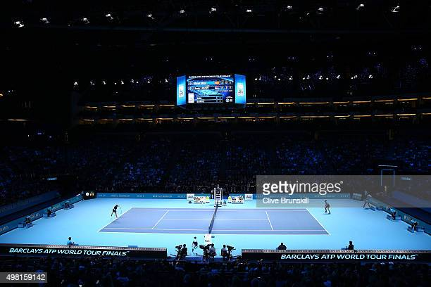 A general view during the men's singles semi final between Rafael Nadal of Spain and Novak Djokovic of Serbia on day seven of the Barclays ATP World...